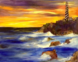 Lighthouse painting 4/10 @ The Tipsy Paintbrush | Matthews | North Carolina | United States