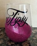 Tipsy Glitter Stemless Wine Glass